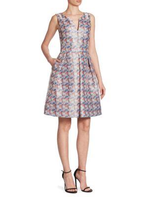 Pixel-Print Fit-&-Flare Dress