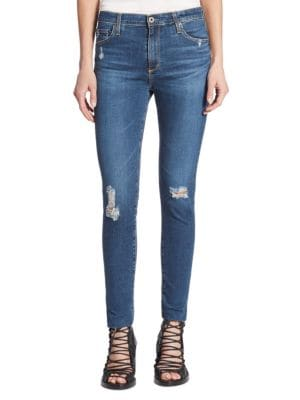 Farrah High-Rise Skinny Cropped Distressed Jeans 0400093885402
