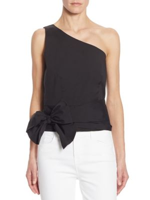 One-Shoulder Tie-Front Top by Scripted