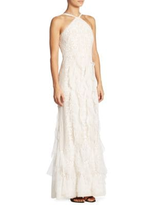 Ruffled Lace Halter Gown