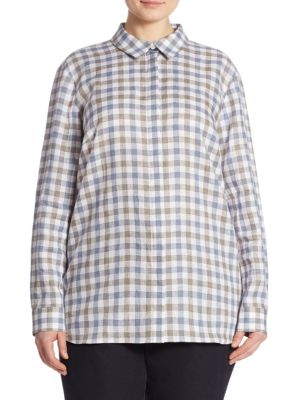 Brody Gingham Linen Blouse by Lafayette 148 New York, Plus Size