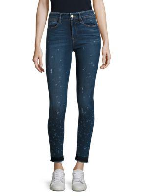 Le High Paint Splatter Frayed Skinny Jeans