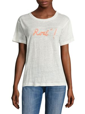 Embroidered Rose Linen Tee