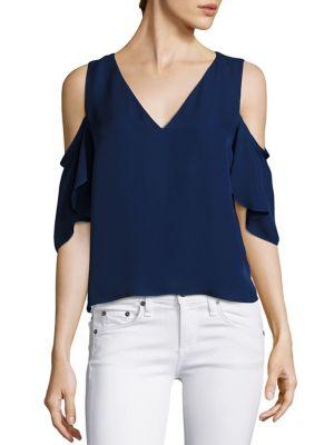 Judy Cold-Shoulder Silk Top
