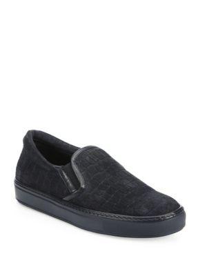 Croc-Embossed Suede Slip-On Sneakers