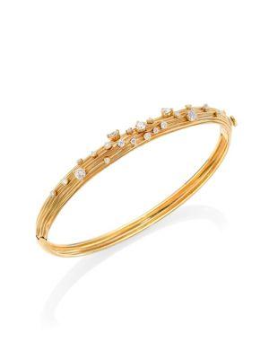 HUEB Plisse 18K Yellow Gold & Diamond Bangle Bracelet