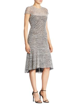 Stripe Knee Length Trumpet Dress