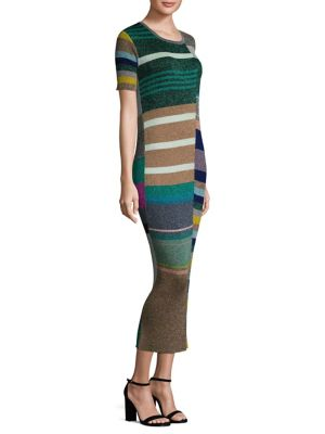 Metallic Patchwork Midi Dress