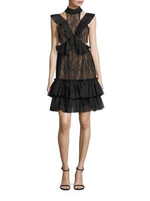 Raven Ruffled Lace Choker Dress