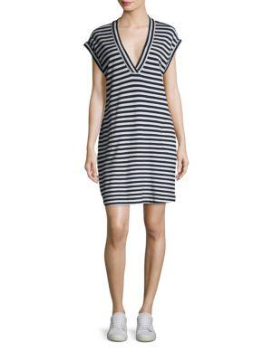 Striped Extended Shoulder Shift Dress