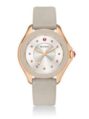 Cape Topaz, Rose Goldtone Stainless Steel & Silicone Strap Watch/Taupe