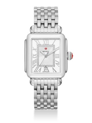 MICHELE WATCHES Deco Madison Diamond & Stainless Steel Bracelet Watch