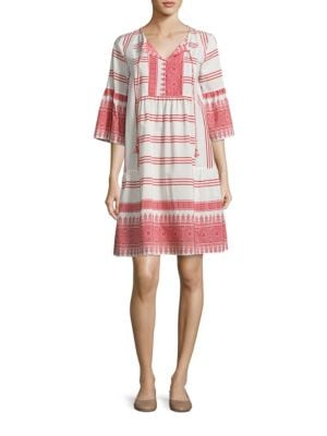 Floria Embroidered Boho Bell Sleeve Dress