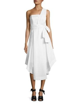 One-Shoulder Tie-Front Midi Dress