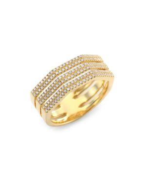 RON HAMI Triplex Diamond & 18K Yellow Gold Ring