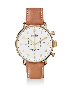 The Canfield Chronograph Velvet Dial Leather Strap Watch