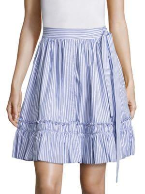 Laysa Striped Cotton Wrap Skirt