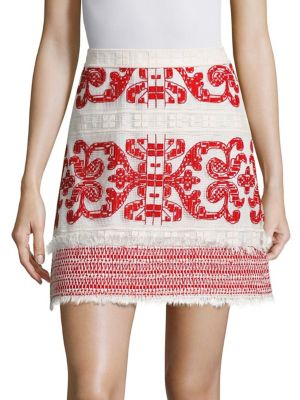 Anzel Embroidered Mini Skirt