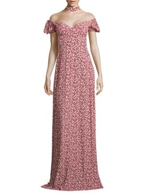 Addilyn Off-The-Shoulder Choker Gown