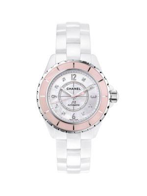 J12 Soft Rose Ceramic & Stainless Steel Bracelet Watch