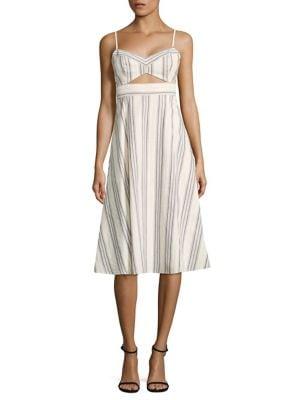Peek-A-Boo Striped Cutout Midi Dress