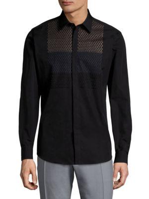 Honeycomb Cotton Button-Down Shirt