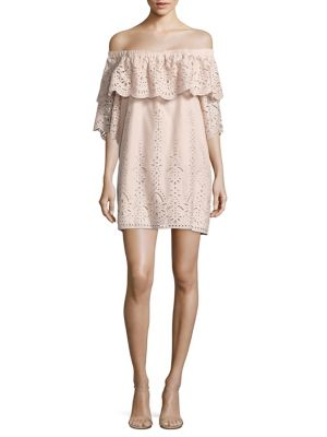 Cathy Ruffled Off-The-Shoulder Eyelet Cotton Dress