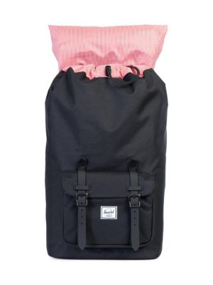 HERSCHEL SUPPLY CO. LITTLE AMERICA LEATHER AND CANVAS BLEND BACKPACK, BLACK 63cd96c357