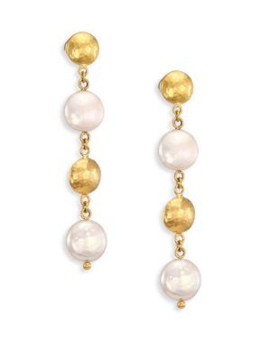 Lentil 13MM White Coin Pearl & 22-24K Yellow Gold Drop Earrings