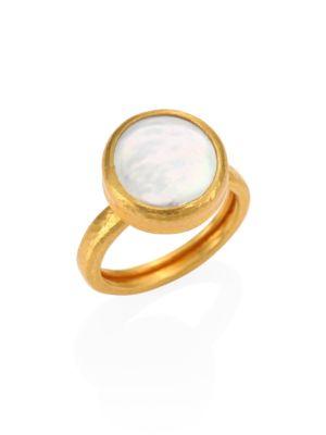 68470348e7ada Lentil 13Mm White Biwa Pearl & 22-24K Yellow Gold Ring, Gold-White