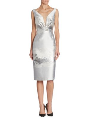 Metallic V-Back Sheath Dress