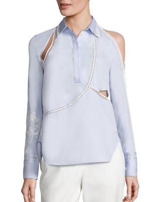 Victoriana Embroidered Cotton Poplin Cold Shoulder Blouse