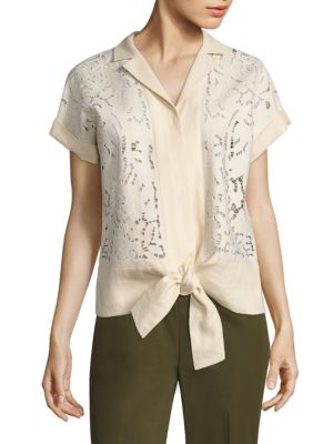 Sawyer Embroidered Linen Blouse by Lafayette 148 New York