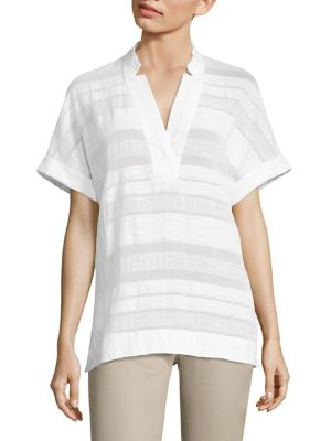 Travis Striped Cotton & Linen Blouse