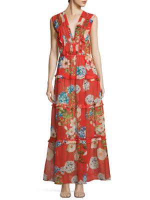 N/Nicholas Hydrangea Silk Maxi Dress