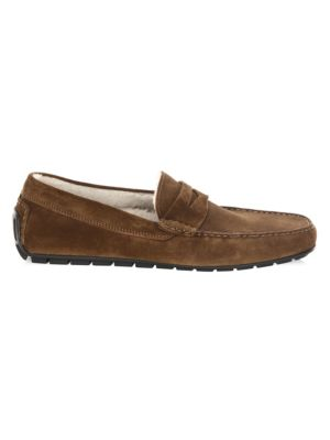 Norse Shearling-Lined Suede Penny Loafers