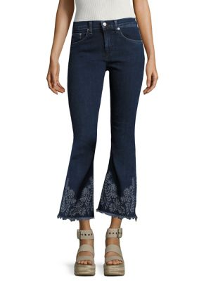 Marlowe Embroidered Cropped Flared Jeans/Marlow by rag & bone/JEAN