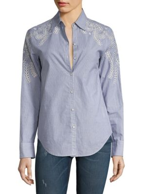 Sahara Striped Eyelet Cotton Shirt