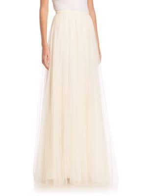 JENNY YOO Arabella Tulle Maxi Skirt in Cream