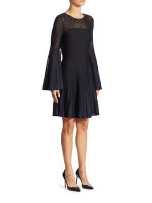 Knit Bell Sleeve Mesh Dress