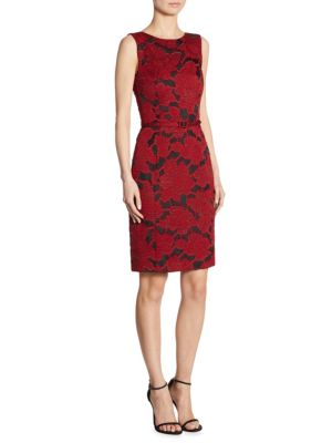 Floral-Embroidered Flounce Dress