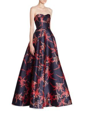 Strapless Silk & Cotton Sweatheart Ball Gown