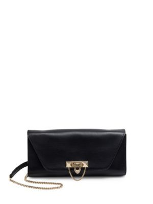 Demi Lune Leather Chain Shoulder Bag