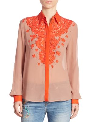 Long Sleeve Floral Blouse by Roberto Cavalli