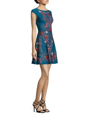 Cap Sleeve Jacquard Dress