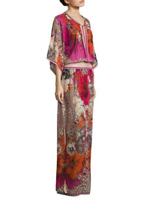 Floral-Print Caftan Gown