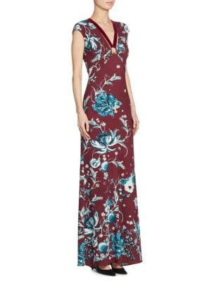 Floral-Print Gown