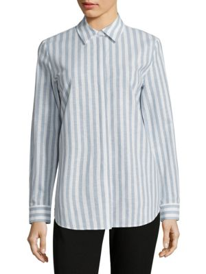 Brody Striped Cotton & Linen Blouse by Lafayette 148 New York