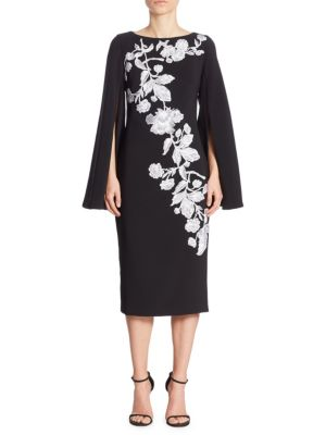 Cape Sleeve Floral Applique Dress