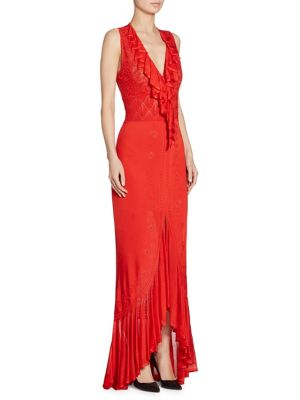 Ruffle V-Neck Gown